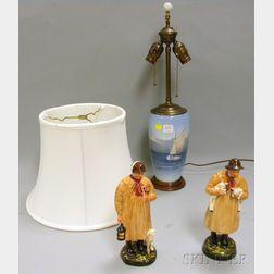 Royal Copenhagen Porcelain Sailing Ship-decorated Vase/Table Lamp and Two   Royal Doulton Ceramic Figures