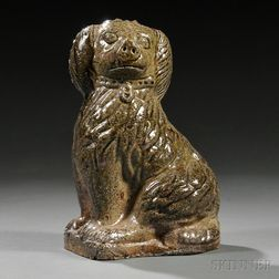 Sewer Tile Pottery Seated Spaniel Figure