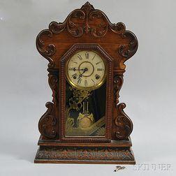 Gilbert Clock Co. Carved Oak Shelf Clock