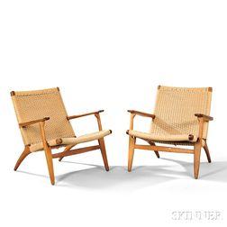 Pair of Hans Wegner CH25 Lounge Chairs
