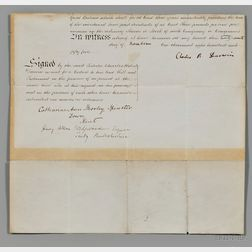 Darwin, Charles Robert (1809-1882) Partial Legal Document Signed, 27 November 1855.