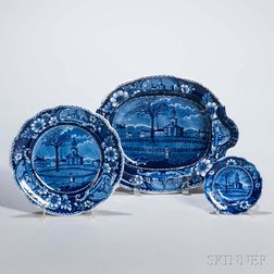 Three Staffordshire Historical Blue Transfer-decorated Winter View of Pittsfield, Massachusetts, Items