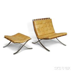 Mies van der Rohe for Knoll Associates Stainless Steel and Leather Barcelona Chair and Ottoman