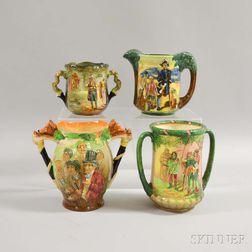 Four Royal Doulton Molded Ceramic Vessels