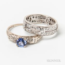 18kt White Gold and Diamond Band and a 14kt White Gold, Tanzanite, and Diamond Ring