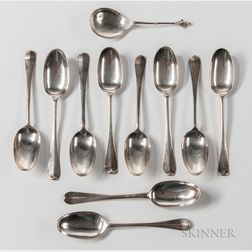 Ten Queen Anne/George I Britannia Standard Spoons