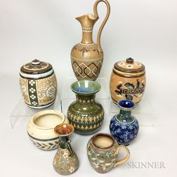 Eight Doulton Stoneware Vessels