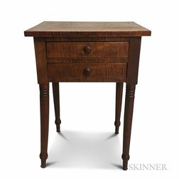 Late Federal Tiger Maple Two-drawer Worktable