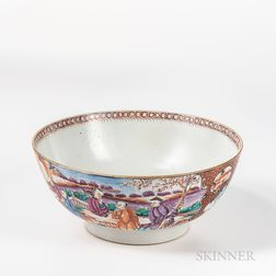 Polychrome Decorated Export Porcelain Punch Bowl