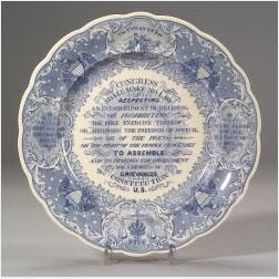 Blue and White Transfer Decorated Staffordshire Anti-Slavery Plate