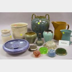 Fulper Pottery Glossy Green and Blue Glazed Two-Handled Vase, Nineteen Pieces of Assorted Modern Art Pottery, and a Group of Glass and