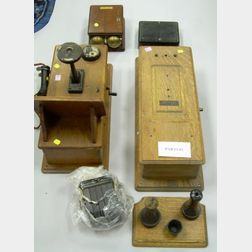 Two Oak Case Magneto Wall Telephones and Parts