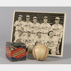 1939 St. Louis Cardinals Autographed Baseball and Player Group Photograph