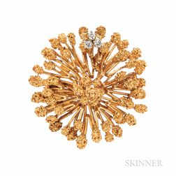 Retailed by Marcus & Co., 18kt Gold and Diamond Brooch