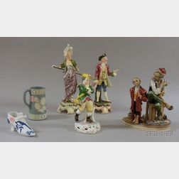 Six Assorted Decorated Ceramic Figural and Table Items