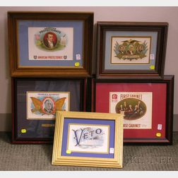 Five Framed 1930s-1940s Chromolithograph Cigar Box Labels