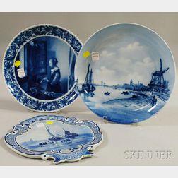 Three European Blue and White Porcelain Items