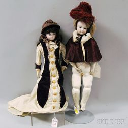 Two Bisque Head Lady Dolls