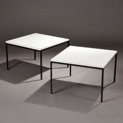 Two Florence Knoll T Angle End Tables