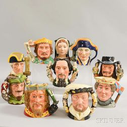 Ten Royal Doulton Ceramic Face Jugs