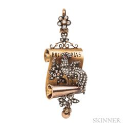 Antique Gold and Seed Pearl Pendant