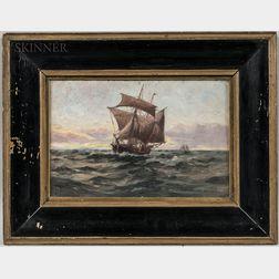 C. Myron Clark (American, 1858-1925)      Ship at Sundown