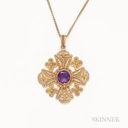 18kt Gold, Gem-set, Filigree Pendant