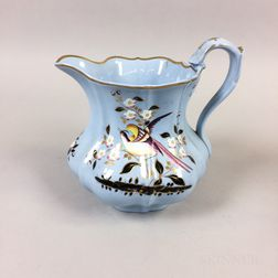 English Bird- and Floral-decorated Ceramic Pitcher