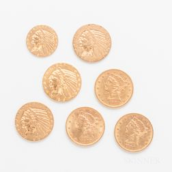 Six $5 Liberty and Indian Head Gold Coins and a 1927 $2.50 Indian Head Gold Coin.     Estimate $1,500-2,000