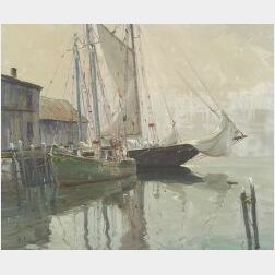 Otis Cook (American, 1900-1980)  The Schooner Blue Nose   at the Wharf