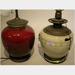 Two Asian Glazed Ceramic Table Lamps.