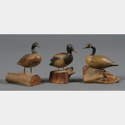 Three Carved and Painted Miniature Duck and Goose Figures