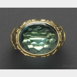 Arts & Crafts Green Tourmaline Ring, attributed to Edward Oakes