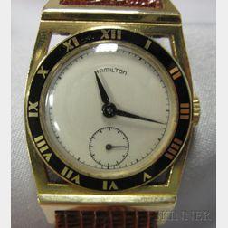 "Art Deco 14kt Gold and Enamel ""Piping Rock"" Wristwatch, Hamilton"