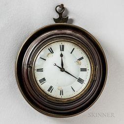 William Broad Mahogany and Brass Miniature Wall Clock