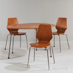 Arne Jacobsen (Danish, 1902-1971) for Fritz Hansen Egg Table and Three Ant Chairs