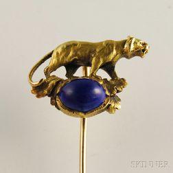14kt Gold and Lapis Lazuli Panther Stickpin