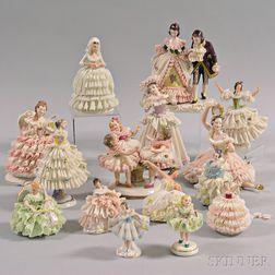 Fifteen Dresden and Dresden-type Porcelain Figures