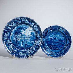 Two Staffordshire Historical Blue Transfer-decorated Capital Washington Plates
