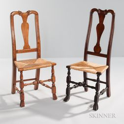 Two Carved Maple Spanish-foot Rush Seat Side Chairs