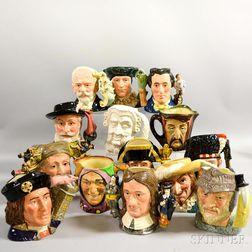 Fourteen Royal Doulton Ceramic Face Jugs