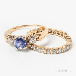 14kt Gold, Tanzanite, and Diamond Ring and a Diamond Eternity Band