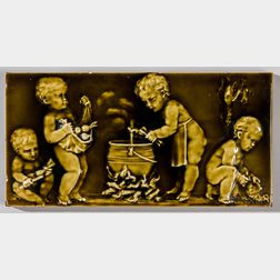 Trent Tile Co. Art Pottery Tile with Putti