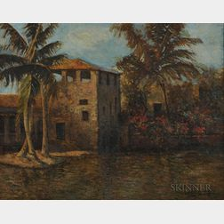 Louis Comfort Tiffany (American, 1848-1933)      Villa with Palms