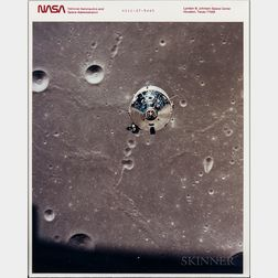 Apollo 11, Command Service Module in Flight, and Shadow of the Lunar Module on the Moon's Surface, July 20, 1969
