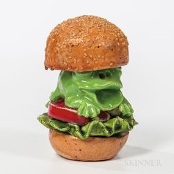 David James Gilhooly (1943-2013) Frog Burger with Lettuce Tomato and Onion on a Sesame Seed Bun