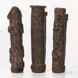 Three Nigerian Clay Pipes