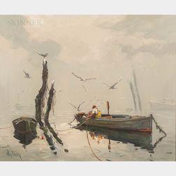 Otis Pierce Cook (American, 1900-1980)      Fisherman in Dory at Mooring