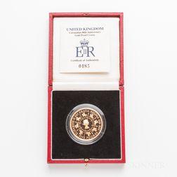 1993 British Proof Five Pound Gold Coin Commemorating the 40th Anniversary of Queen Elizabeth's Coronation.     Estimate $1,200-1,500
