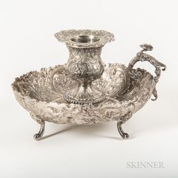 Continental Silver Repousse and Chased Footed Chamber Candlestick